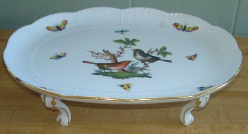 Herend Rothschild Bird 4 Toed Oval Tray -- 10 1/4""
