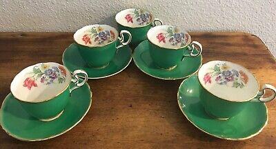 Floral Cup Saucer Set - Vintage Ansley Green/ Floral Bone China Tea Cup & Saucer Set Of 5 Cups 4 Plates