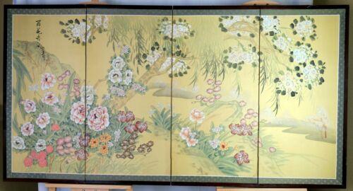 VGUC Byobu Flowers at Stream Printed Silky Paper 4-Panel Folding Divider Screen
