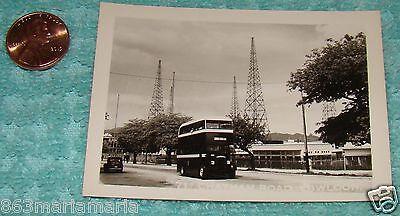 Vintage Souvenir Photo Chatham Road Kowloon, Hong Kong Double Decker Bus
