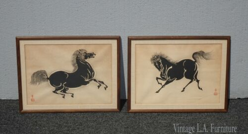 Set of Two Vintage Japanese Wood Block Horse Prints Signed
