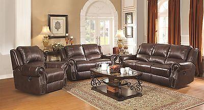 BURGUNDY BROWN TOP GRAIN LEATHER RECLINING SOFA & GLIDING LOVESEAT FURNITURE SET Burgundy Leather Reclining Sofa