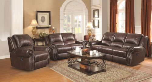 Burgundy Brown Top Grain Leather Reclining Sofa & Gliding Loveseat Furniture Set