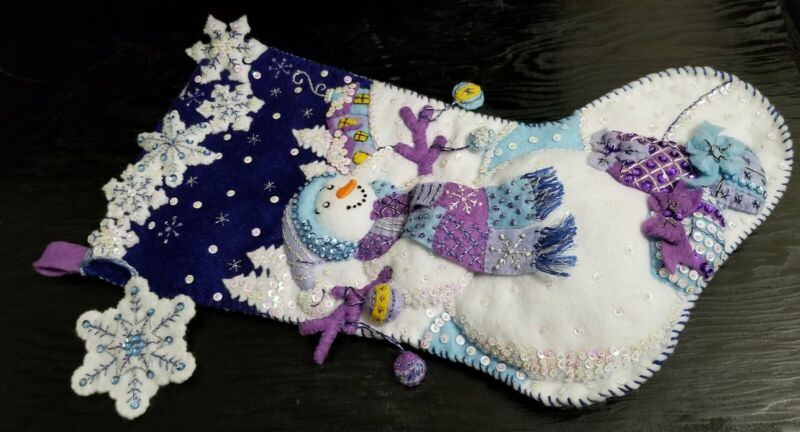 """Finished Completed Bucilla 18"""" Felt Christmas Stocking """"FROSTY NIGHT"""" Snowman"""