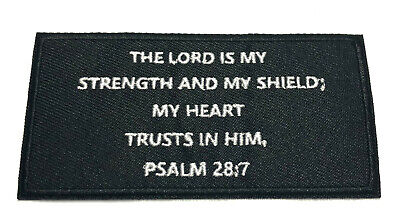 "Psalms 28:7 Bible Verse 4"" W x 2"" T Iron/Sew On Decorative Patch"
