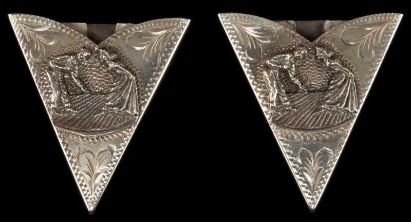 Vintage Sterling Silver Collar Tips Square Dancers