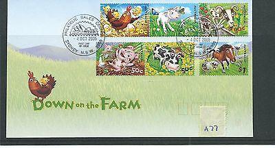 wbc. - AUSTRALIA - A77 - PHILATELIC CARD  - DOWN ON THE FARM -  set used