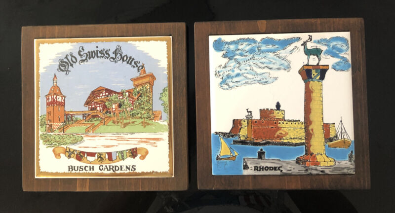 """Vintage Old Swiss House Busch Gardens and """"Rhodes"""" Wood Wall Hanging Plaques (2)"""