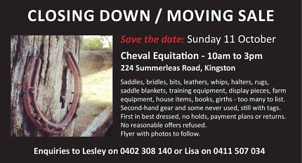 Cheval Equitation Closing Down Sale Kingston Kingborough Area Preview