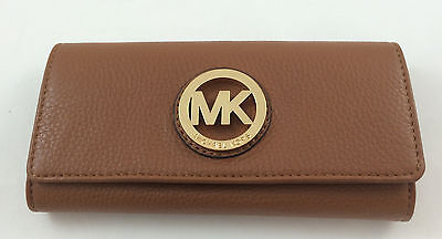 Fabric Continental Wallet - New Authentic Michael Kors MK Fulton Flap Continental Leather Wallet Luggage