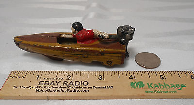 Vintage Heavy Cast Iron Miniature Motor Boat with Wheels Collectible Toy