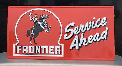 Frontier Gasoline Metal Sign Vintage Style Wall Decor Service Ahead Horse Cowboy