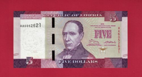 LIBERIA UNCIRCULATED BANKNOTE: FIVE DOLLARS 2016 (Pick - 31a) Edward James Roye