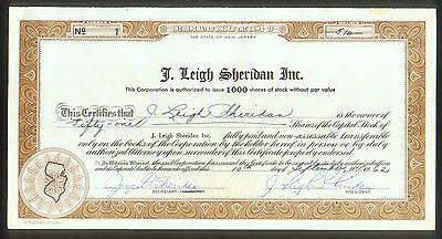 J. LEIGH SHERIDAN INC. ( NJ ) CERTIFICATE # 1 / NAT'L HERO DOG HALL FORT MYERS
