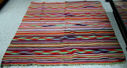 """Rio Grande Multicolor Wool Blanket 80"""" x 52 1/2"""" Excellent condition c.1880"""