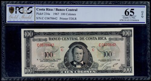 COSTA RICA 100 COLONES 1967 PICK # 234a PCGS 65 GEM UNC OPQ.