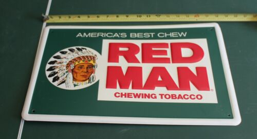 """Vintage Red Man Chewing Tobacco Gas Station 18"""" Embossed Metal Sign Indian"""