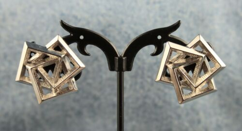 """1988 Avon """"Tailored Geometric"""" Entwined Trio of Squares Pierced Earrings"""