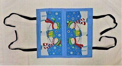 New Christmas Mailbox Cover Snowmen Bringing Gifts Velcro Ties Flag Cutout ()