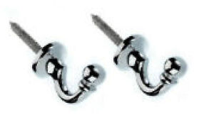 Pair Of Quality Curtain Tie Back Hold Backs Black Chrome Brass Metal Screw Hooks