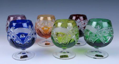 Set of 6 Bohemian Multi-Color Cut Crystal Brandy Snifter Glasses Nachtmann Glass