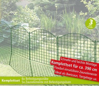 Powertec Garden Teichzaun 11-tlg Oberbogen Dunkelgrün Metall Beetzaun Einzäunung