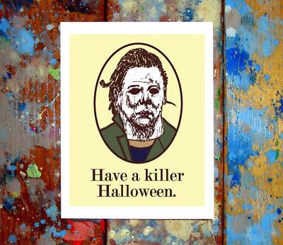 2 Pack Jason Voorhees & Michael Myers Happy Halloween Cards Funny Spooky - Michael Myers Happy Halloween