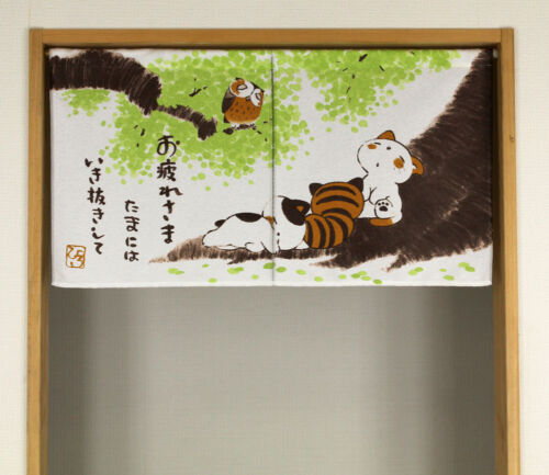 JAPANESE Noren Curtain NEW  CAT OWL 85x45 MADE IN JAPAN