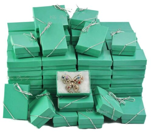 100pc Teal Jewelry Gift Boxes Wholesale Teal Gift Boxes Green Boxes +FREE Bows