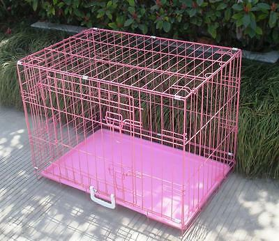 "New Pink 30"" 2 Door Pet Cage Folding Dog Cat Crate Cage Kennel w/ABS Tray"