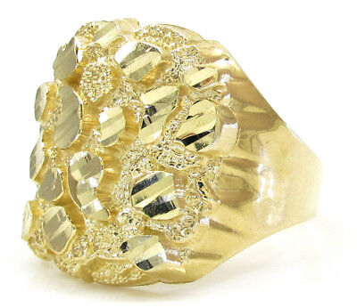 Mens 10K Solid Yellow Gold Heavy Fancy Nugget Ring 4 Grams Size 11