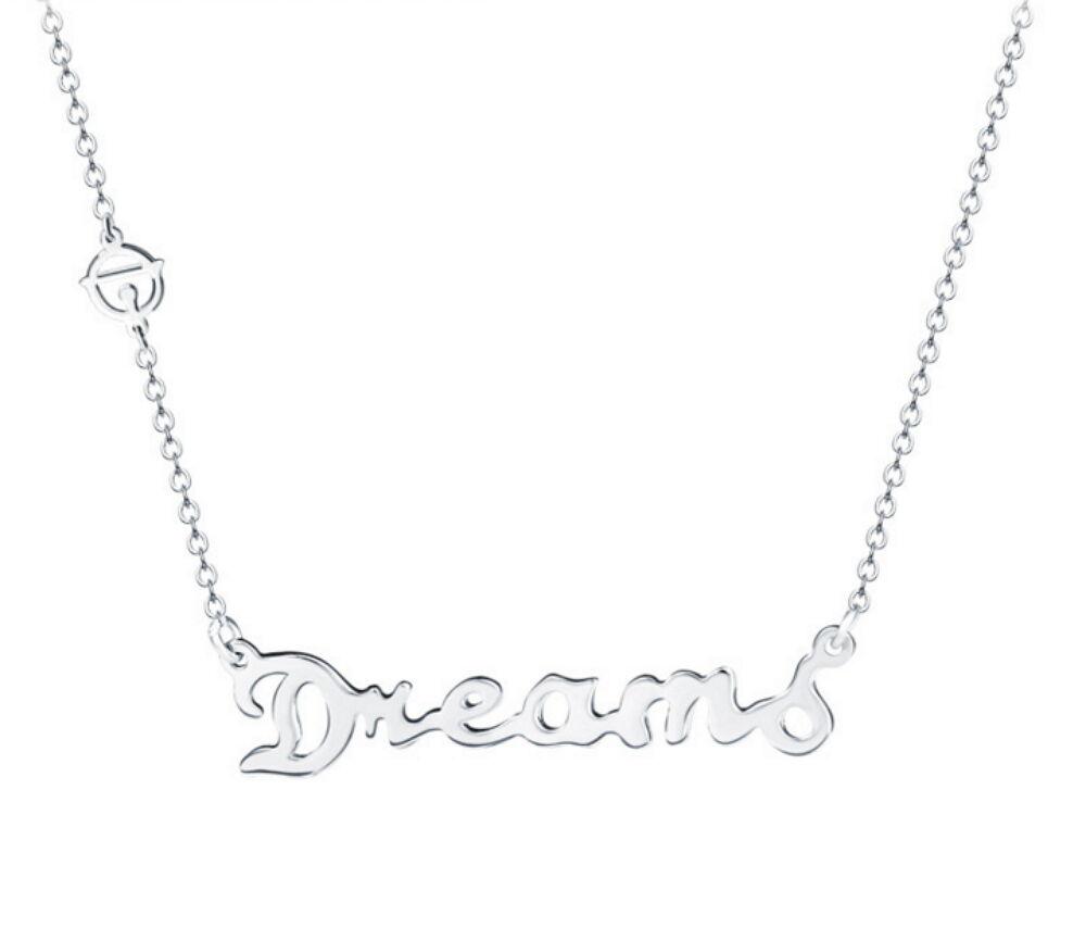 """Women 925 Sterling Silver """"Dream"""" Zircon Pendant+18 Inches Silver Chain Necklace Fashion Jewelry"""