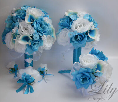 17 Piece Package Wedding Bridal Bouquet Silk Flowers TURQUOISE MALIBU SPA (Turquoise Silk Flowers)