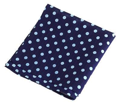 NEW Handmade Polka Dot Cotton Indigo Pocket Square Bandana Handkerchief