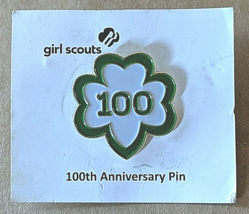 Girl Scout 100th Anniversary Birthday Trefoil Pin 1912-2012 On Card