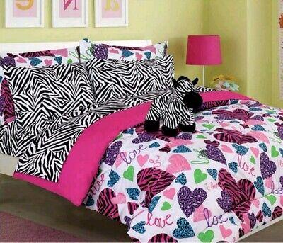 Girls Kids Bedding Hot Pink MISTY ZEBRA Bed-in-a-Bag Comforter Set FULL Size