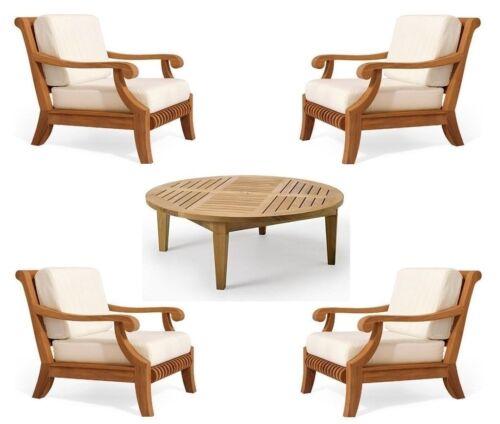 Giva A-grade Teak Wood 5pc Outdoor Garden Patio Sofa Lounge Chair Coffee Tbl Set