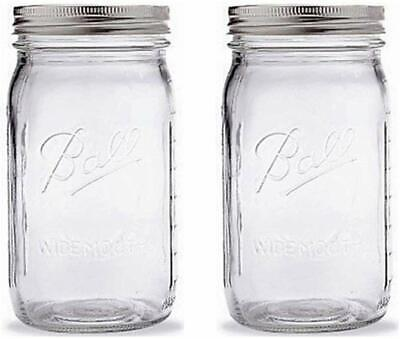 Mason Jar Set (Ball Mason Jar-32 oz. Clear Glass Ball Wide Mouth-Set of)