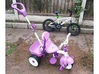 Little tikes 3 wheel push chair bike and pirate bike for kids