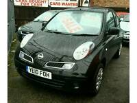 2010 NISSAN MICRA VISIA 1240cc, Black, Cheap Road Tax, One Owner, S/History, HPI, Warranty