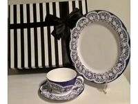 "Hand Painted China ""One Of"" Blue Lace Effect Cup, Saucer and Plate Set with Gift Box"
