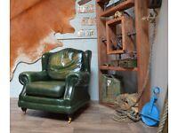 Thomas Lloyd Chesterfield Vintage Leather Armchair Green