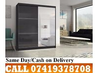 Akira Sliding Two Door High-Gloss Black/White Wardrob