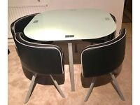 Dining table 4 chairs, small, glass, leather chairs