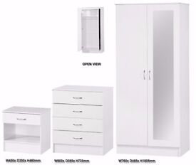 White High Gloss Bedroom Furniture 3 Piece Trio Set Mirror Wardrobe 4 drawer Chest And Bedside Table