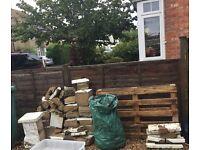 Wall pillar with capstone/ Rubble/ old blocks - free