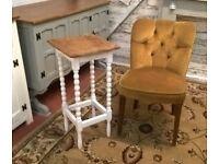 Antique Solid Oak Bobbin Leg Vintage Hallway Table in Farrow Ball All White ~ Shabby Chic (pot pine)