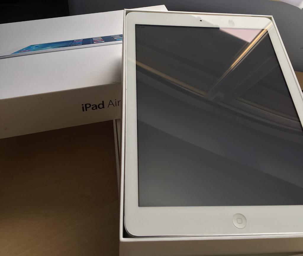 iPad Air 128GB Cellular and WiFiin Bracknell, BerkshireGumtree - Available to collect from RG12 0TT. Or can be posted for postage and item fees sent via PayPal.Mint condition.Wiped clean. Boxed. Cables and sim tool all untouched. Ex work prize so engraving present on the item