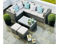 BNIB Grey Rattan Corner Sofa Set, coffee table, footstools, garden furniture