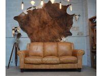 Leather Vintage 3 Seater Sofa Tan Studs